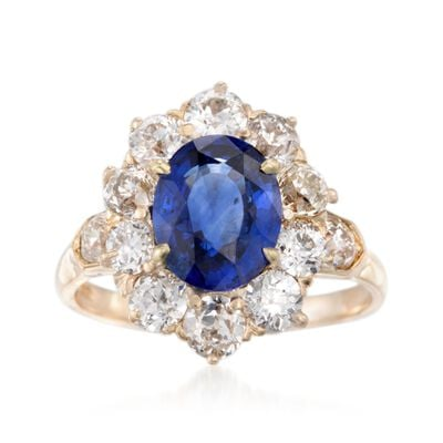 C. 1970 Vintage 2.75 Carat Sapphire and 2.00 ct. t.w. Diamond Ring in 14kt Yellow Gold