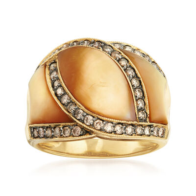 C. 1990 Vintage .65 ct. t.w. Diamond and Mother-Of-Pearl Ring in 14kt Yellow Gold, , default