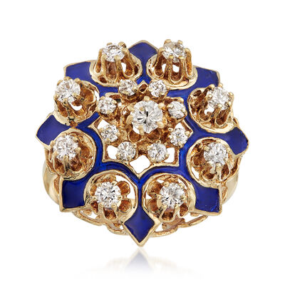C. 1950 Vintage .90 ct. t.w. Diamond Cluster Ring with Blue Enamel in 14kt Yellow Gold, , default