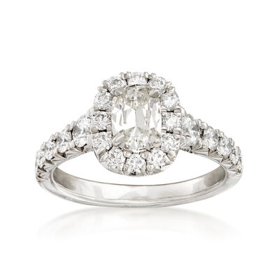 Henri Daussi 1.75 ct. t.w. Diamond Halo Engagement Ring in Platinum