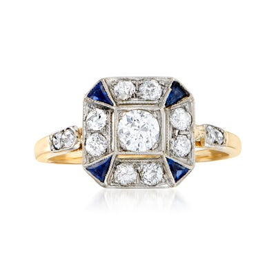 C. 1930 Vintage .65 ct. t.w. Diamond Ring with Synthetic Sapphire Accents in 14kt Two-Tone Gold