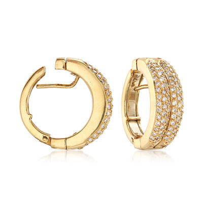 C. 1990 Vintage 1.50 ct. t.w. Diamond Double-Hoop Earrings with Hidden Sapphires in 18kt Gold