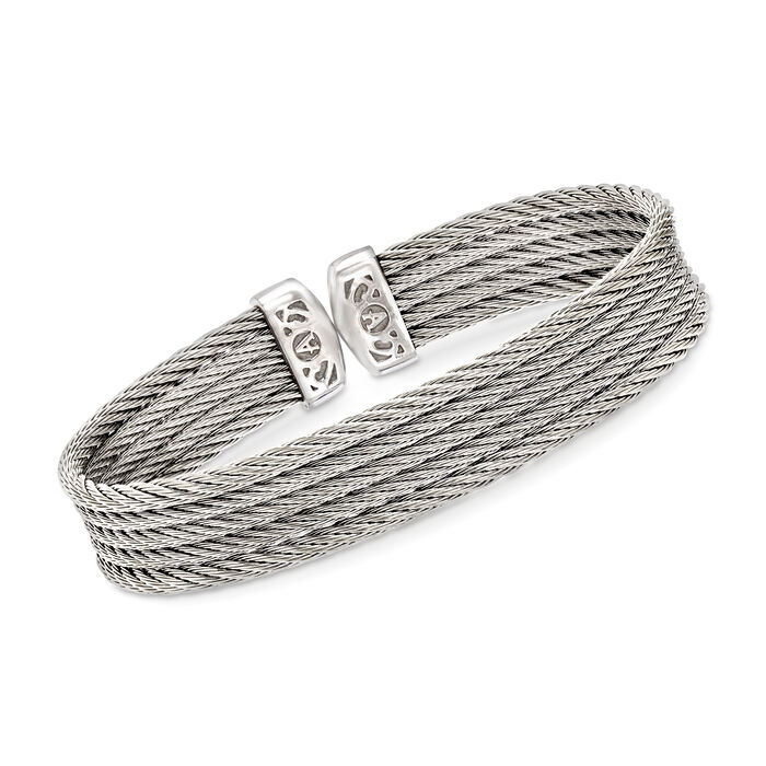 "ALOR ""Classique"" Gray Multi-Strand Stainless Steel Cable Cuff. 7"", , default"