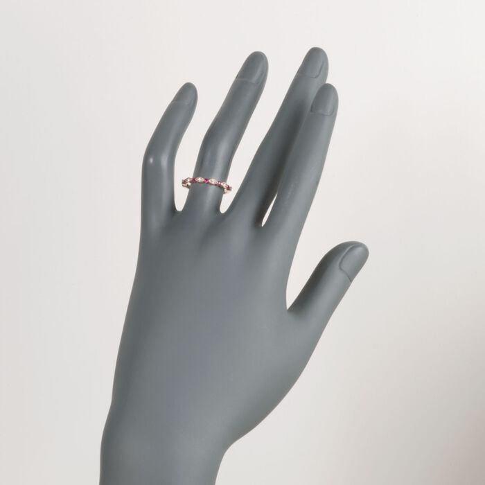 Henri Daussi .14 ct. t.w. Ruby Wedding Ring with Diamond Accents in 14kt Rose Gold
