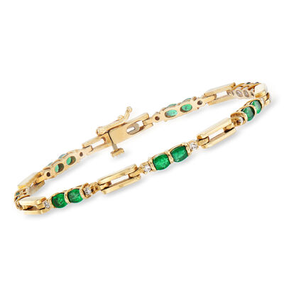 C. 1980 Vintage 2.50 ct. t.w. Emerald and .30 ct. t.w. Diamond Bracelet in 14kt Yellow Gold, , default