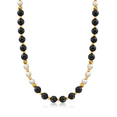 C. 1990 Vintage Black Onyx and 7mm Cultured Pearl Necklace in 14kt Yellow Gold