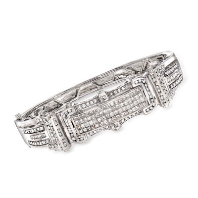 C. 1980 Vintage 5.40 ct. t.w. Diamond Bangle Bracelet in 14kt White Gold