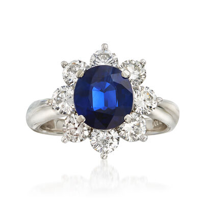 C. 2000 Vintage 2.14 Carat Sapphire and 1.68 ct. t.w. Diamond Ring in Platinum, , default