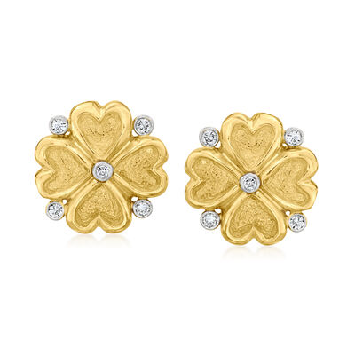 C. 1980 Vintage .15 ct. t.w. Diamond Clover Clip-On Earrings in 18kt Yellow Gold