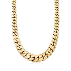 C. 1980 Vintage 18kt Yellow Gold Graduated Cuban-Link Necklace, , default