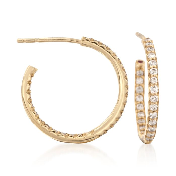 Roberto Coin .52 Carat Total Weight Diamond In-And-Out Hoops in 18-Karat Yellow Gold, , default