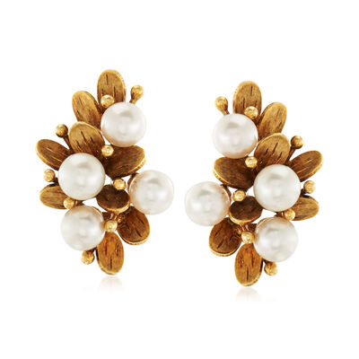 C. 1970 Vintage 6mm Cultured Pearl Floral Clip-On Earrings in 14kt Yellow Gold