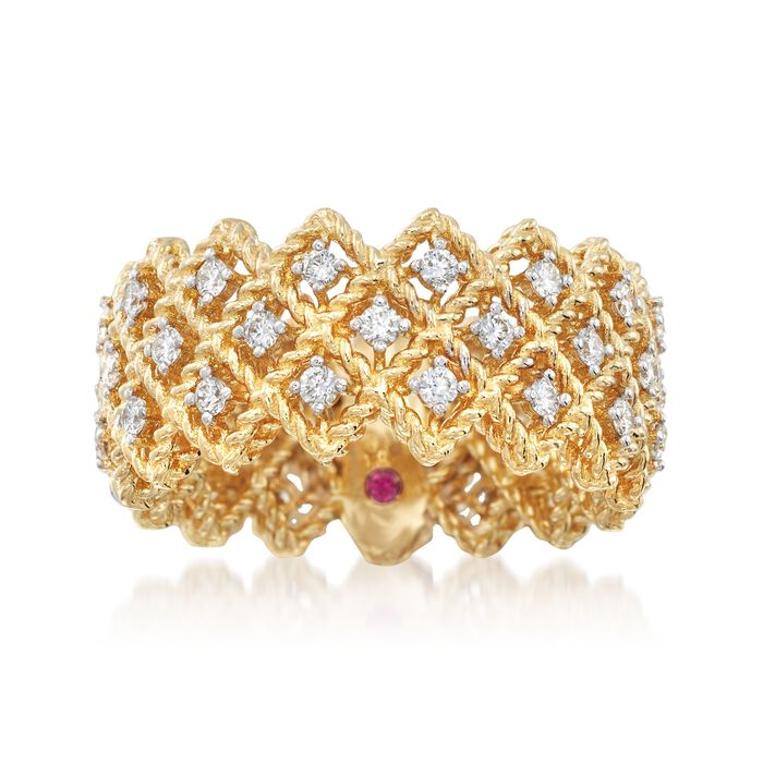 Roberto Coin Barocco .72 Carat Total Weight Diamond Triple-Crisscross Band in 18-Karat Yellow Gold. Size 7, , default