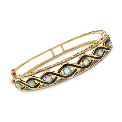 C. 1960 Vintage Cabochon Opal and Black Enamel Bangle Bracelet in 14kt Yellow Gold