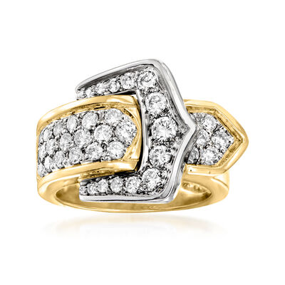 C. 1980 Vintage 1.10 ct. t.w. Diamond Buckle Ring in 14kt Two-Tone Gold