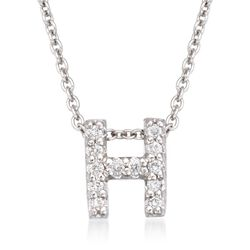 "Roberto Coin ""Tiny Treasures"" Diamond Accent Initial ""H"" Necklace in 18kt White Gold, , default"