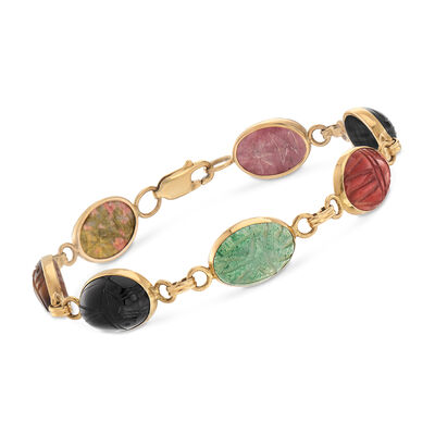 C. 1970 Vintage Multi-Gemstone Scarab Bracelet in 14kt Yellow Gold, , default