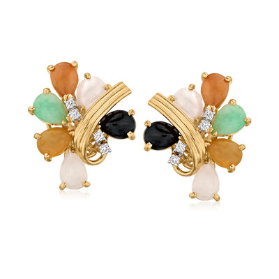 C. 1990 Vintage Multicolored Jade and .16 ct. t.w. Diamond Cluster Earrings in 18kt Yellow Gold