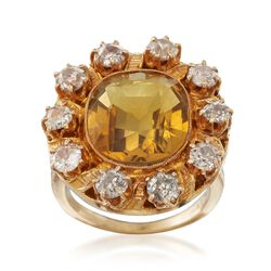 C. 1900 Vintage 6.00 Carat Citrine and 1.80 ct. t.w. Diamond Ring in 14kt Yellow Gold, , default