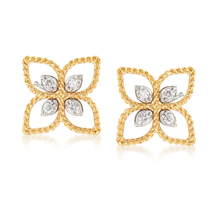 "Roberto Coin ""Princess"" 18kt Two-Tone Gold Flower Stud Earrings with Diamond Accents"