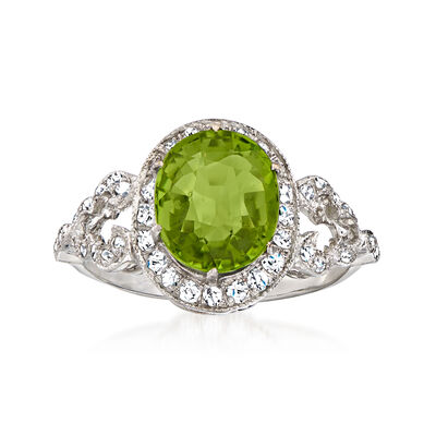 C. 2000 Vintage 2.50 Carat Green Tourmaline Ring with .35 ct. t.w. Diamonds in 18kt White Gold