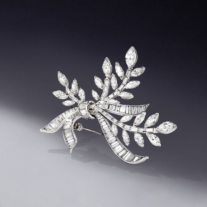 C. 1970 Vintage 17.10 ct. t.w. Diamond Leaf with Bow Pin in Platinum
