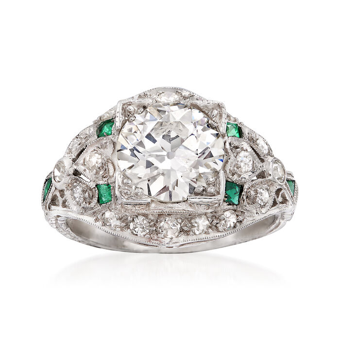 C. 1990 Vintage 2.55 ct. t.w. Diamond Ring With Emeralds in Platinum. Size 5.5, , default