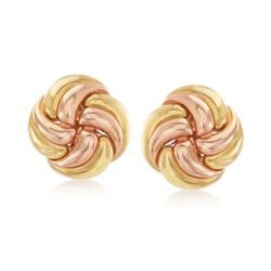 C. 1980 Vintage 18kt Yellow Gold Floral Swirl Earrings, , default
