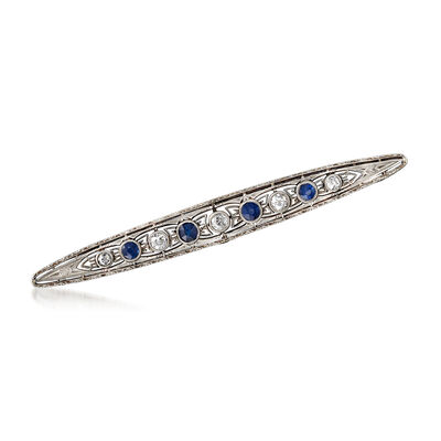 C. 1940 Vintage .60 ct. t.w. Diamond and .50 ct. t.w. Sapphire Bar Pin in 14kt Yellow Gold and Platinum, , default