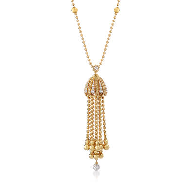 "Roberto Coin ""Barocco"" 1.00 ct. t.w. Diamond  Tassel Pendant Necklace in 18kt Yellow Gold, , default"