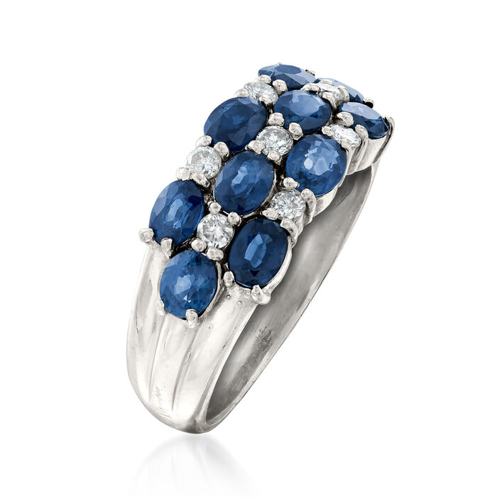 C. 1990 Vintage 2.00 ct. t.w. Sapphire and .20 ct. t.w. Diamond Checkerboard Ring in Platinum
