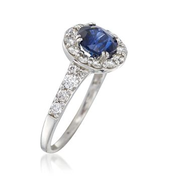 C. 2000 Vintage 1.58 Carat Sapphire and .70 ct. t.w. Diamond Ring in 14kt White Gold. Size 5.75