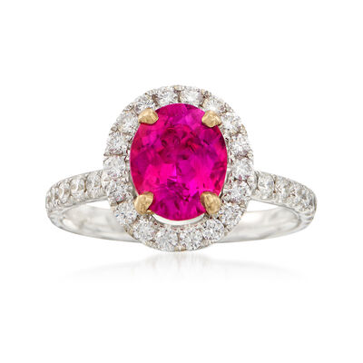 C. 2000 Vintage 2.03 Carat Pink Tourmaline and 1.00 ct. t.w. Diamond Ring in 18kt White Gold, , default