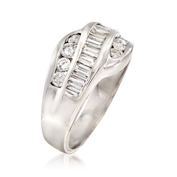 C. 1980 Vintage 1.10 ct. t.w. Diamond Crossover Ring in 14kt White Gold. Size 7.5, , default