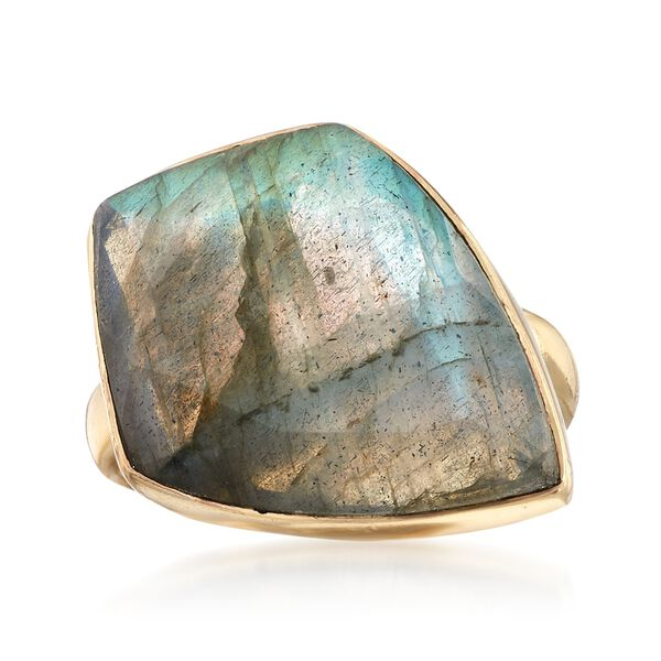 Kite-Shaped Labradorite Ring in 18kt Gold Over Sterling #894443