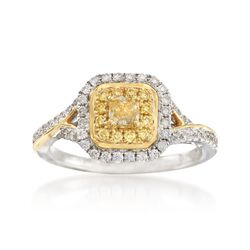 Gregg Ruth .68 ct. t.w. Yellow and White Diamond Ring in 18kt Two-Tone Gold, , default