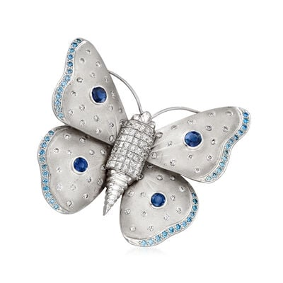 C. 1970 Vintage 6.20 ct. t.w. Blue and White Diamond and 1.60 ct. t.w. Sapphire Butterfly Pin in 18kt White Gold, , default