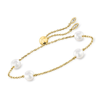 "Mikimoto ""Japan"" 7.5mm A+ Akoya Pearl Station Bolo Bracelet with Diamond Accents in 18kt Yellow Gold, , default"