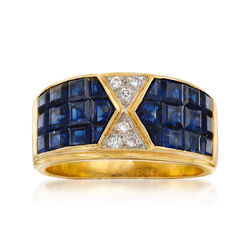 C. 1990 Vintage 2.50 ct. t.w. Sapphire Ring With Diamond Accents in 14kt Yellow Gold, , default