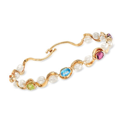 C. 1990 Vintage Cultured Pearl and 2.30 ct. t.w. Multi-Gemstone Bangle Bracelet in 14kt Yellow Gold, , default