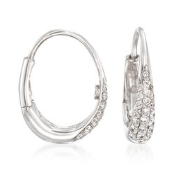 Roberto Coin .60 ct. t.w. Diamond Hoop Earrings in 18kt White Gold, , default
