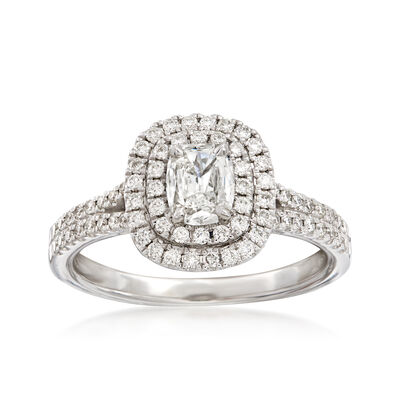 Henri Daussi .80 ct. t.w. Diamond Double Halo Engagement Ring in 18kt White Gold, , default