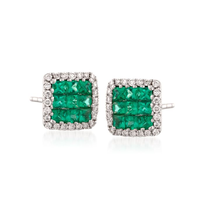 Gregg Ruth .46 Carat Total Weight Emerald and Diamond Earrings in 18-Karat White Gold, , default