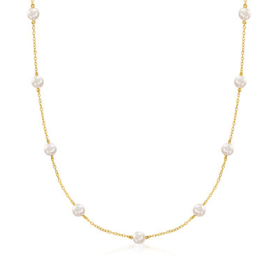 Mikimoto 5.5mm A+ Akoya Pearl Station Necklace in 18kt Yellow Gold