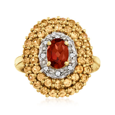 C. 1980 Vintage 1.00 Carat Garnet and 1.70 ct. t.w. Smoky Quartz Ring with Diamond Accents in 10kt Yellow Gold