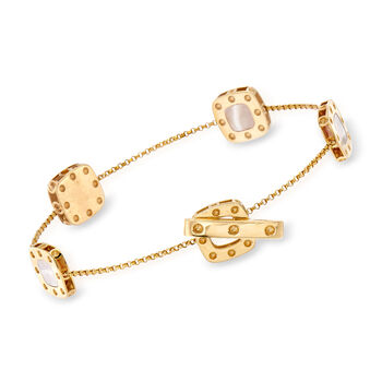 """Roberto Coin """"Pois Moi"""" Mother-Of-Pearl and .10 ct. t.w. Diamond Square Bracelet in 18kt Two-Tone Gold. 7.25"""""""