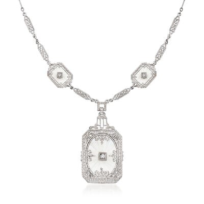 C. 1950 Vintage Rock Crystal and .33 ct. t.w. Diamond Drop Necklace in 14kt White Gold, , default