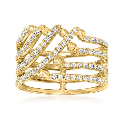 C. 1990 Vintage .62 ct. t.w. Diamond Open-Space Ring in 18kt Yellow Gold
