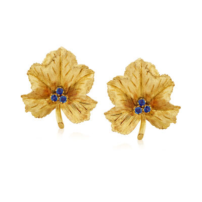C. 1970 Vintage Tiffany Jewelry .15 ct. t.w. Sapphire Leaf Earrings in 14kt and 18kt Yellow Gold