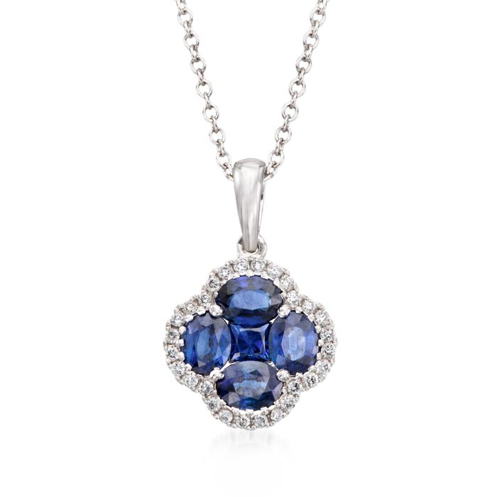 """Gregg Ruth 1.43 Carat Total Weight Sapphire and .14 Carat Total Weight Diamond Necklace in 18-Karat White Gold. 18"""", , default"""